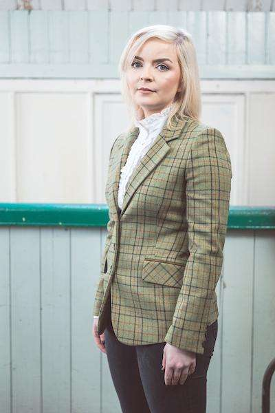Woman wearing Foxford's Ladies Green Check Tweed Jacket in Woollen Mill