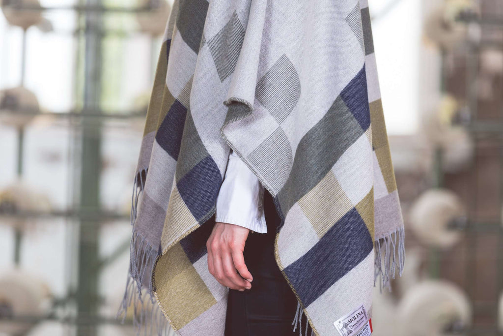 Fringed Pure Wool Chequerboard Design Serape