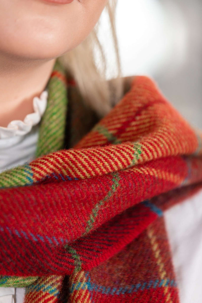 Traditional Green and Red Block Check Scarf