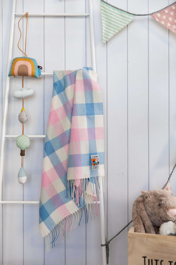 Foxford Pink & Blue Check Baby Blanket