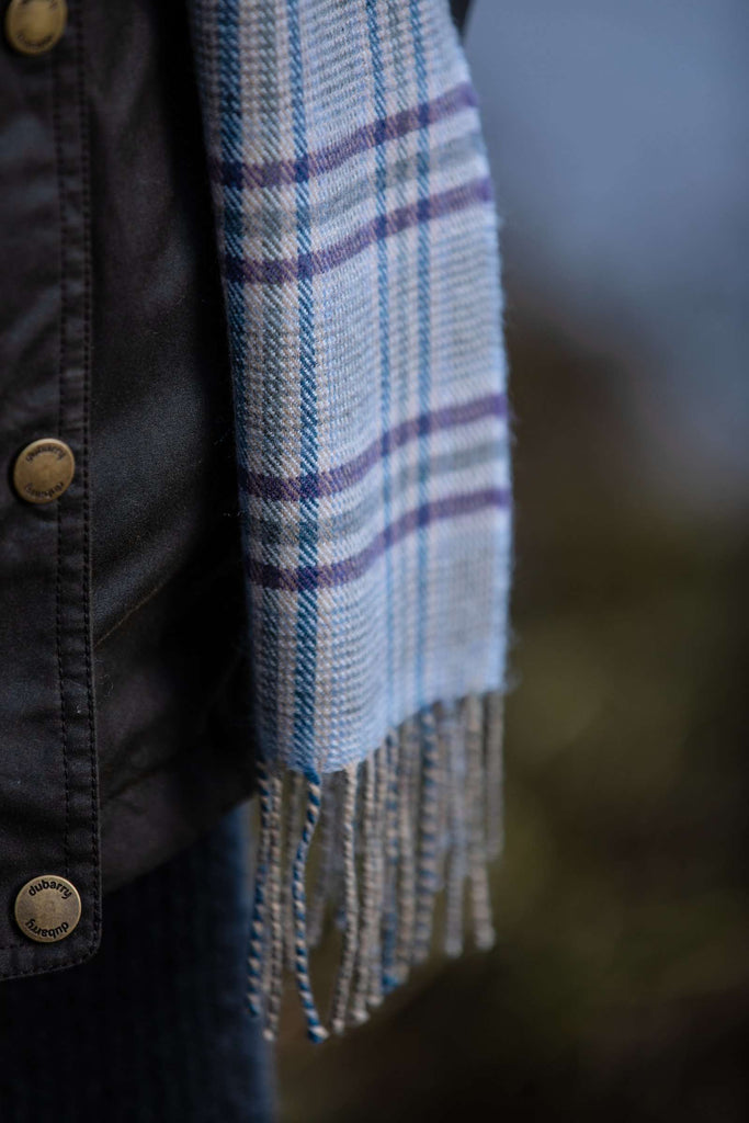 Blue and Purple Glen Check Scarf