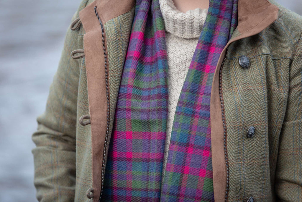 Purple Broken Check Scarf