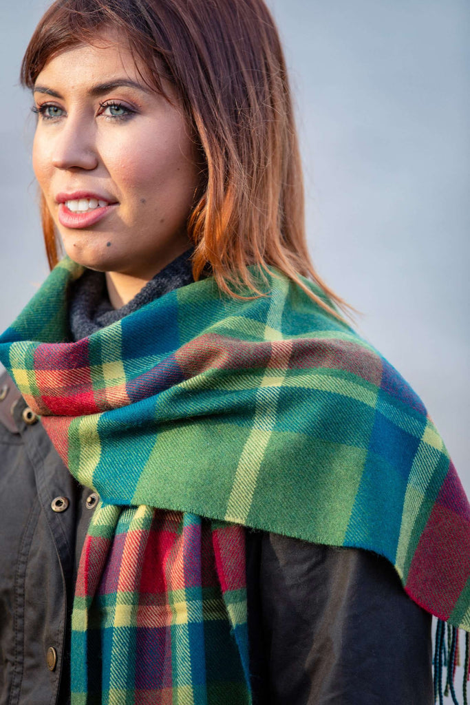 Leaf Mirror Block Check Scarf