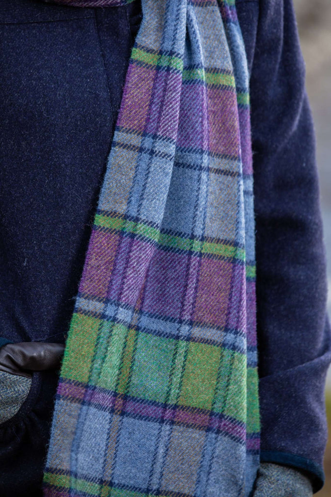 Purple Heritage Block Windowpane Scarf