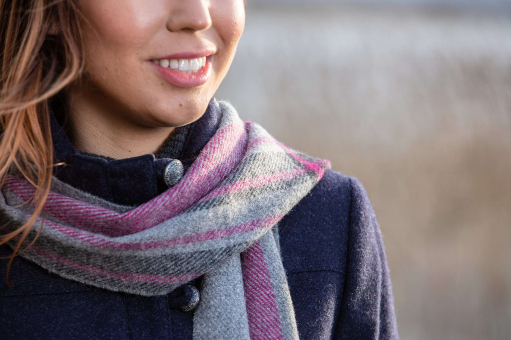 Grey and Majenta Check Border Scarf