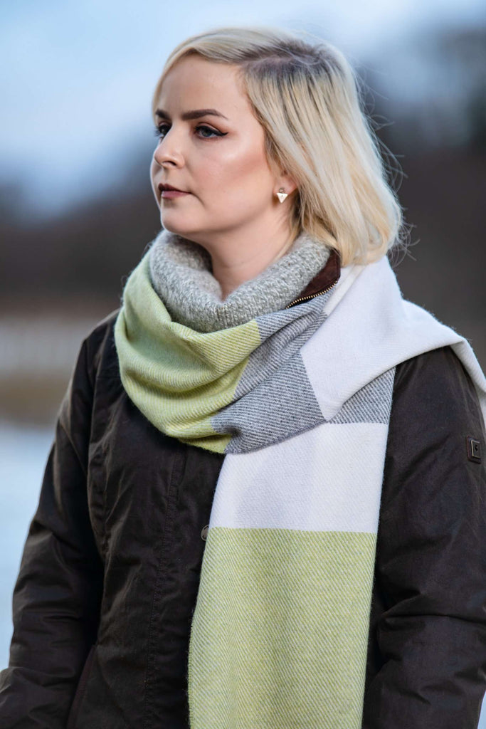 White, Uniform and Citrus Stripe Scarf