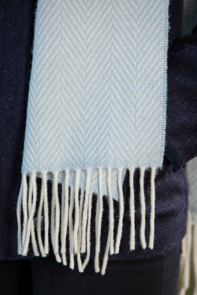 Blue and White Herringbone Cashmere Scarf