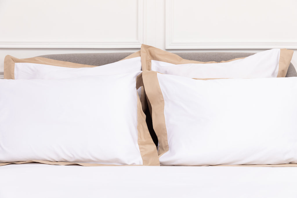 Sateen White Beige Border Pillowcase - Pair