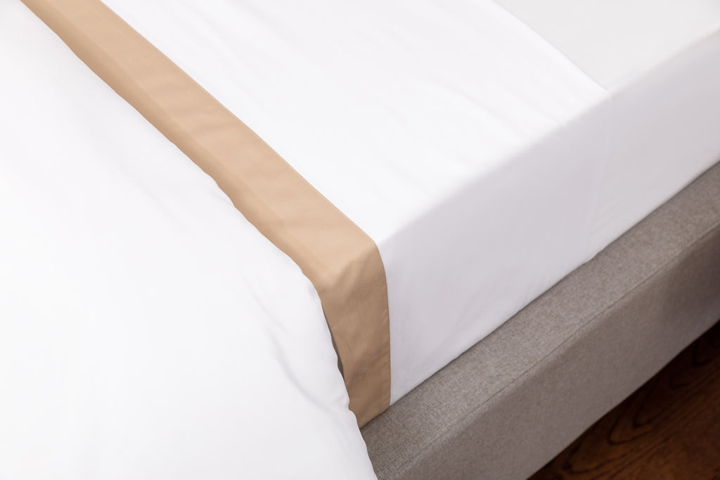 White Sateen Beige Border Flat Sheet