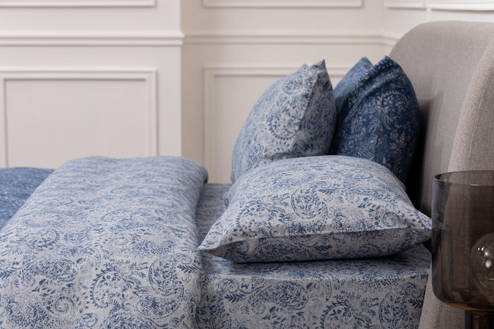 Indigo Blue & White Paisley Flannel Housewife Pillowcase - Pair