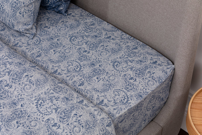 Indigo Blue & Grey Flannel Fitted Sheet
