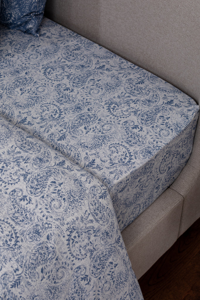 Denim Blue & White Flannel Fitted Sheet