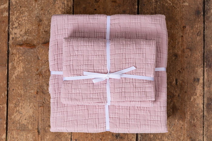 Set of Pink Cushion Cover and Bedspread