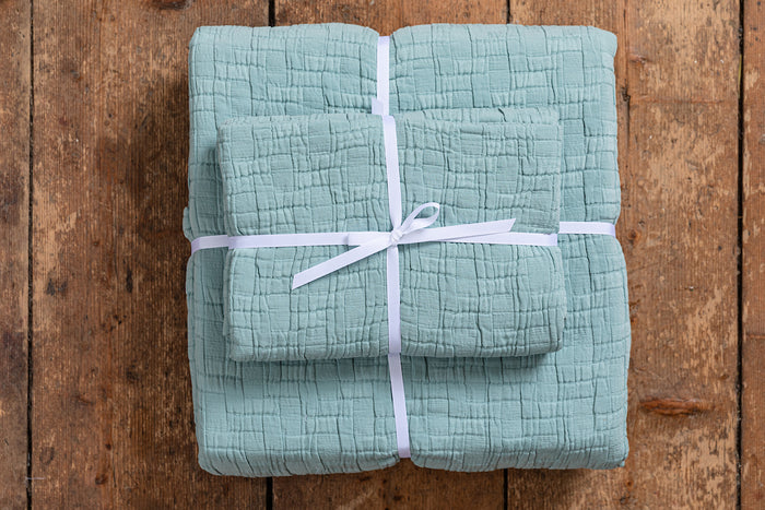 Set of Aqua Cushion and Bedspread