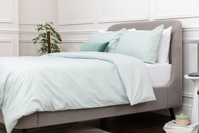 Aqua Geometric Oxford Pillowcase - Pair