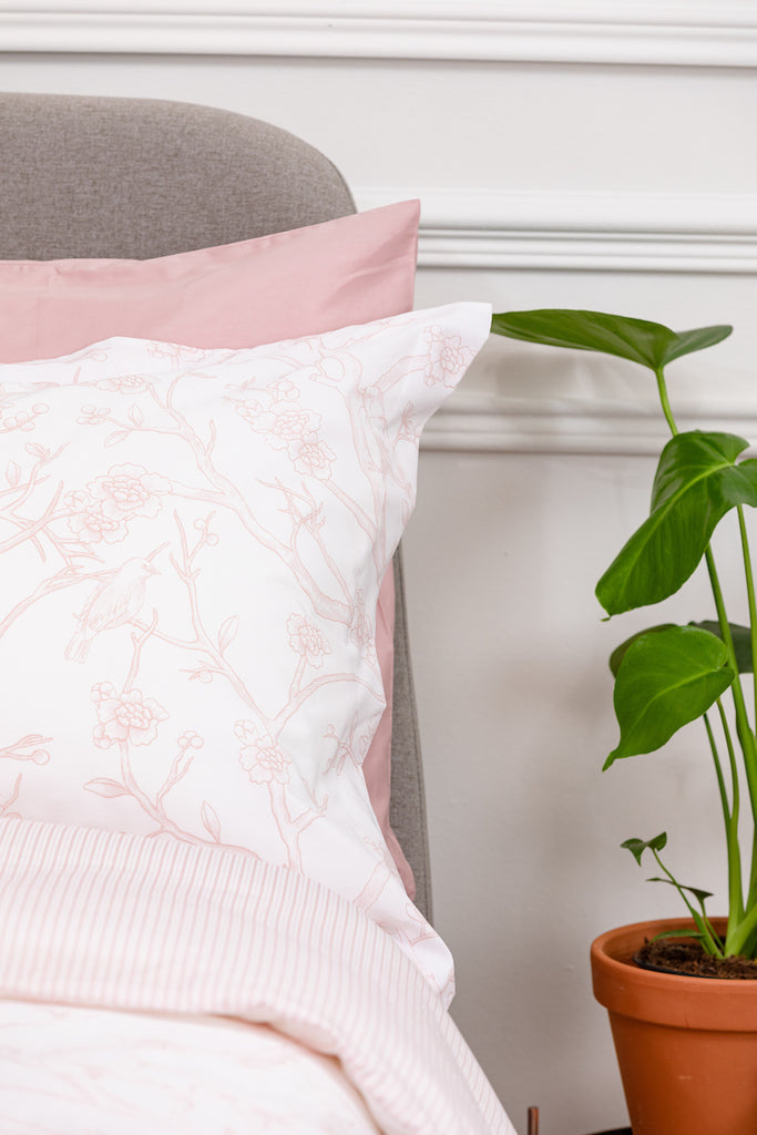Pink Antique Bird Toile Oxford Pillowcase - Pair