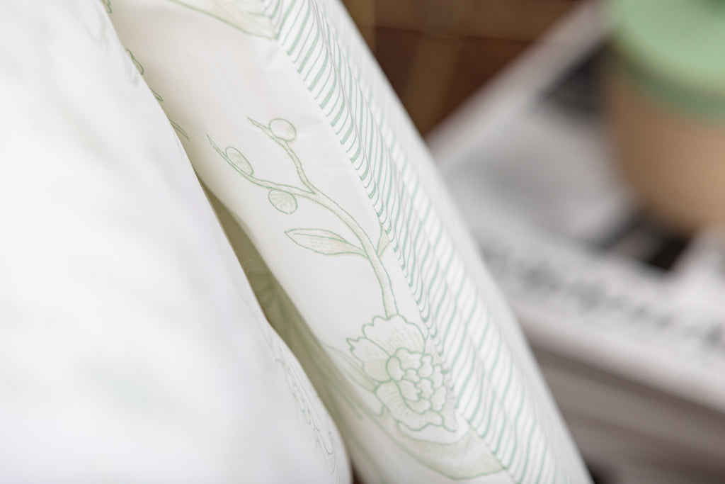Mint Antique Bird Toile Duvet Cover