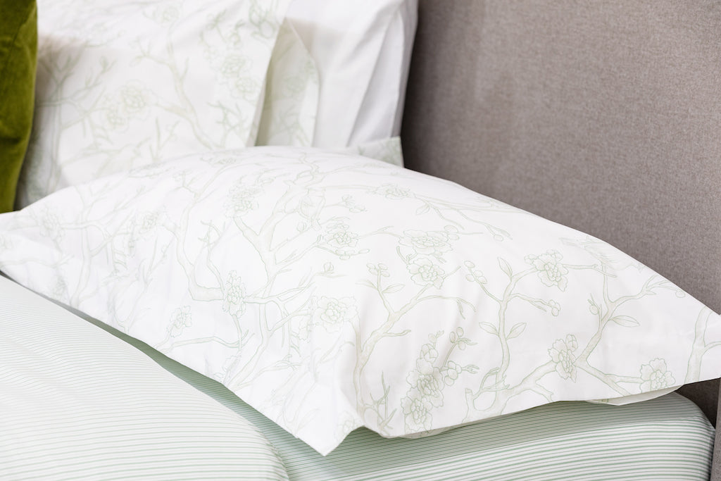 Mint Antique Bird Toile Oxford Pillowcase - Pair