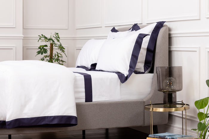 Sateen White Navy Border Pillowcase - Pair