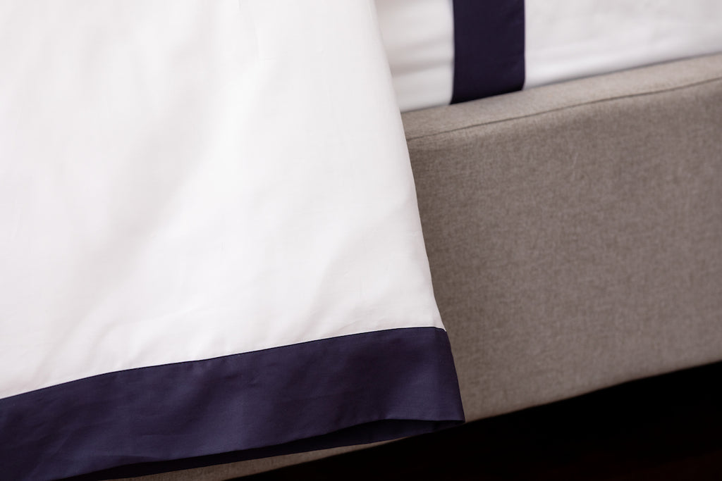 White Sateen Navy Border Duvet Cover
