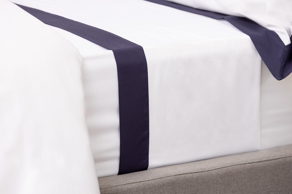 White Sateen Navy Border Flat Sheet