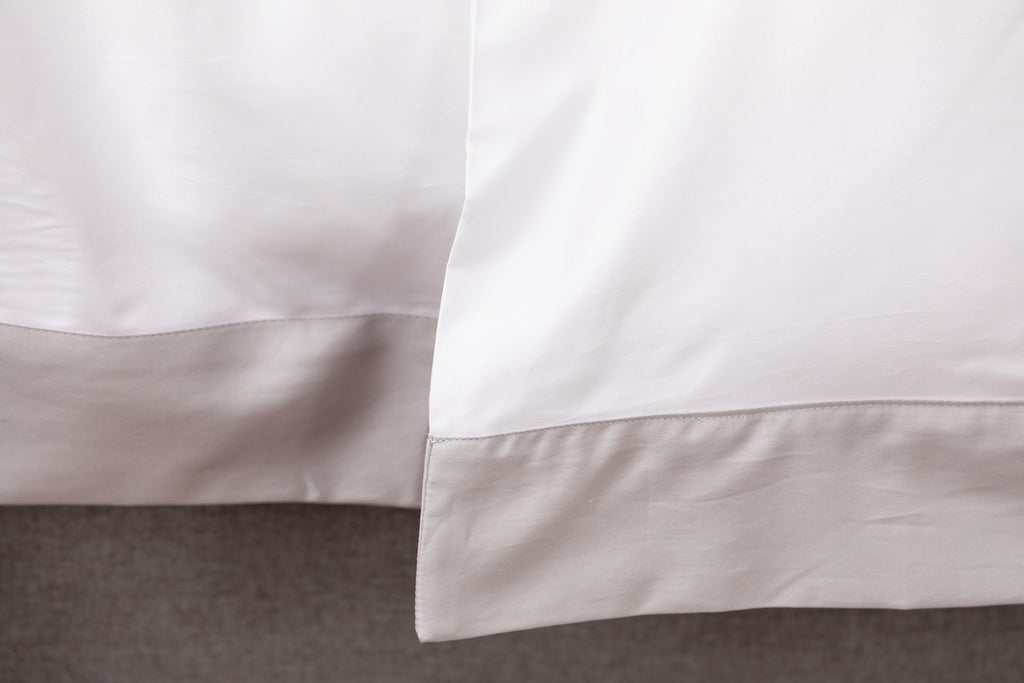 White Sateen Grey Border Duvet Cover
