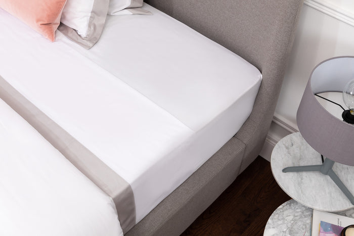 White Sateen Grey Border Flat Sheet