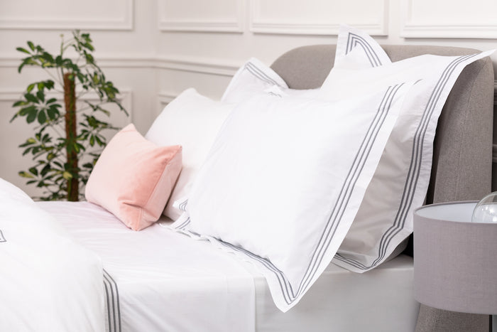 Silver 3 Row Embroidered Square Egyptian Cotton Oxford Pillowcase - Single
