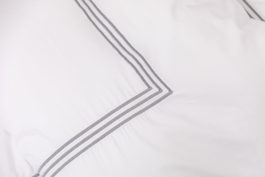 Silver 3 Row Embroidered Egyptian Cotton Duvet Cover