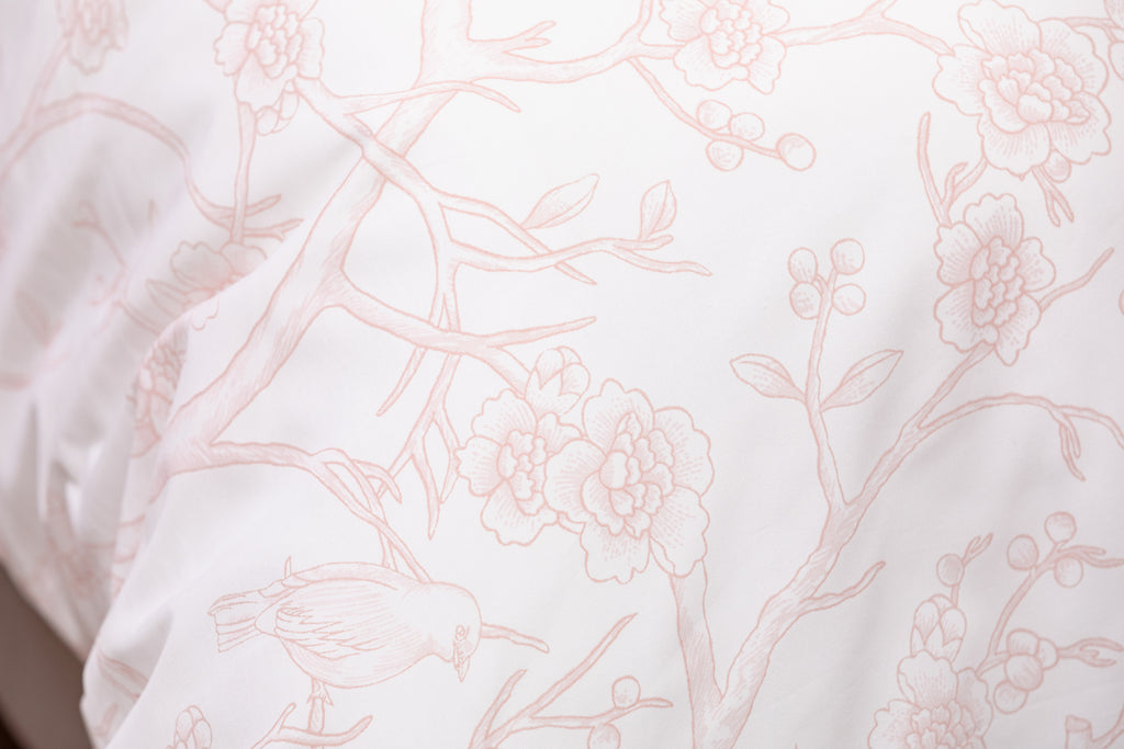 Pink Antique Bird Toile Duvet Cover