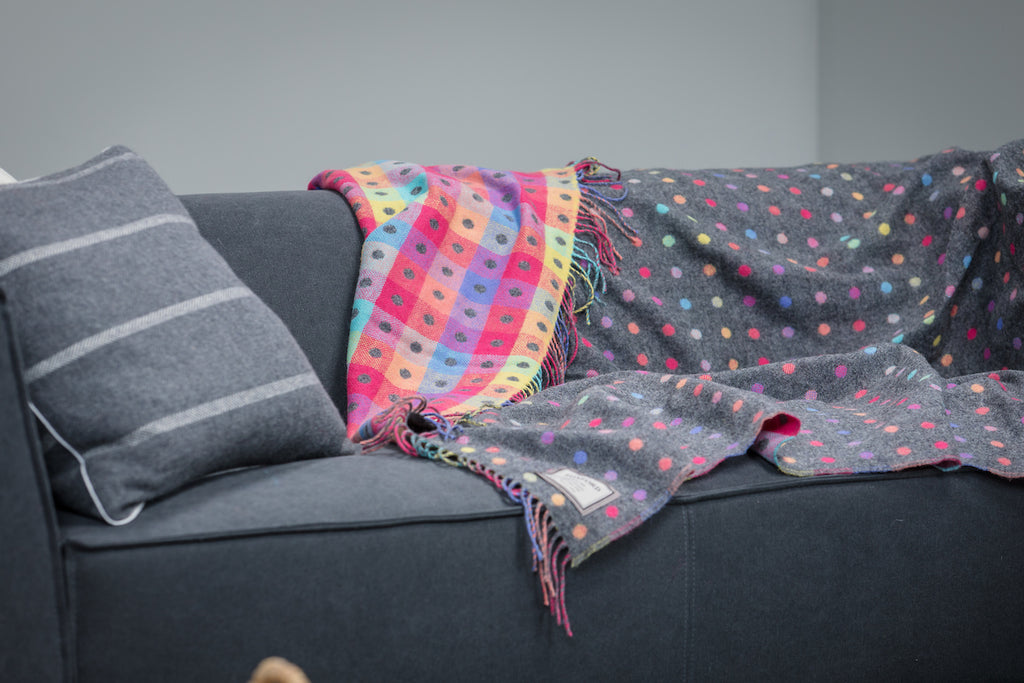 Grey Rainbow Throw