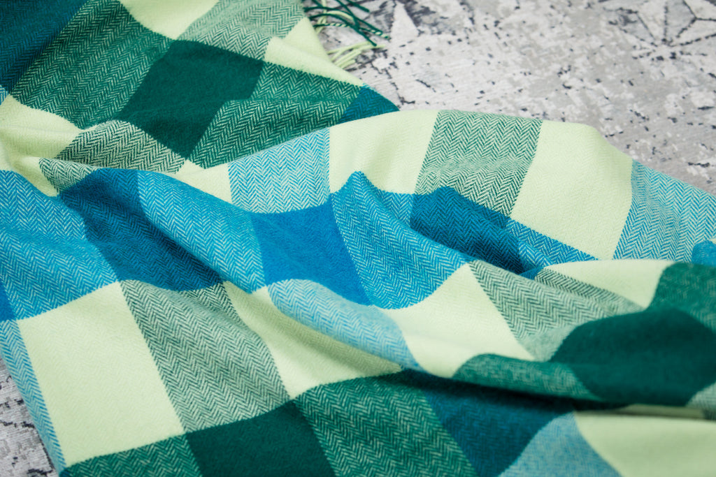 3 Colour Block Feel Green Lambswool Throw