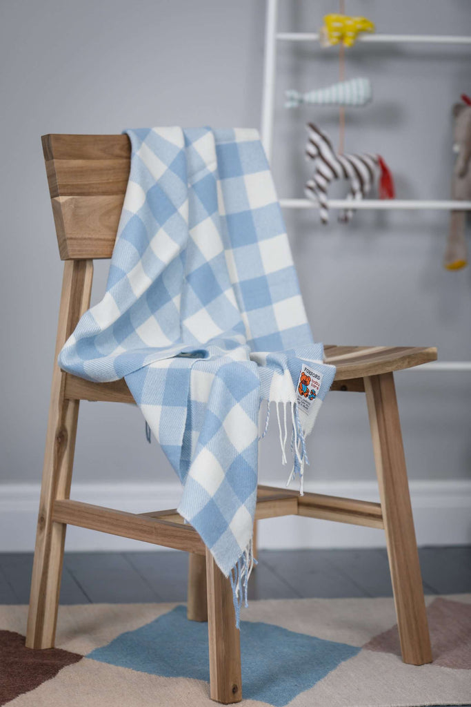 Foxford Blue Check Baby Blanket