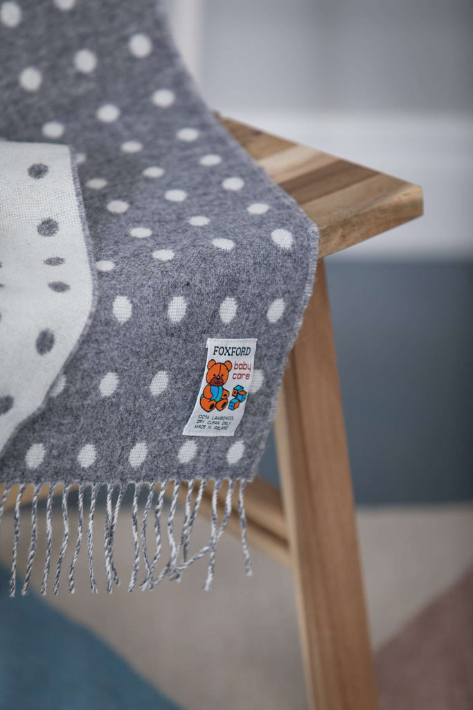 Grey and White Spot Baby Blanket