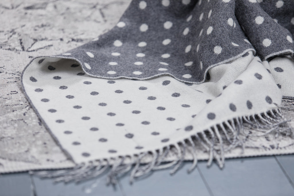 Grey Dotty Throw