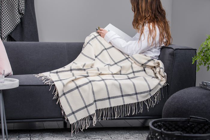 White & Grey Windowpane Throw