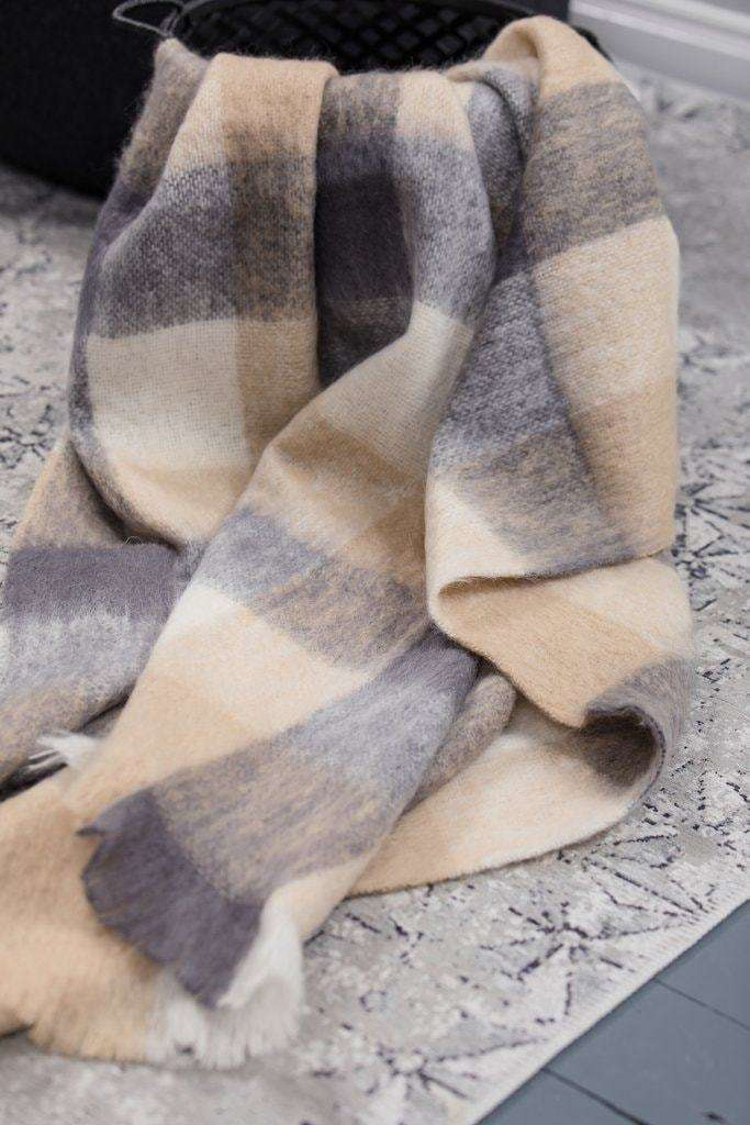 Classic Bone Block Check, Knee Rug, Woven, Irish Throw, Irish Gift, Mohair, Foxford Woollen Mills