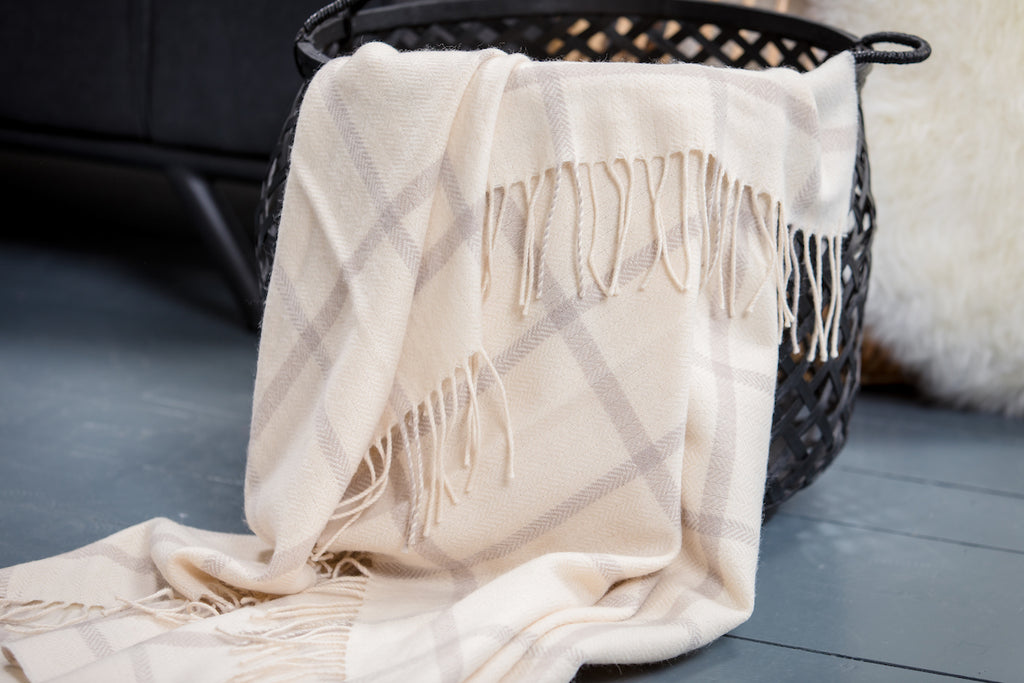 White & Bone Windowpane Throw