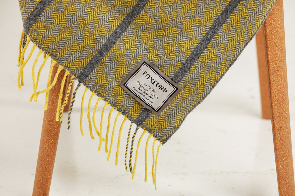 Yellow & Grey Oxford Herringbone Throw
