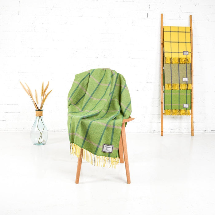 Lime Yellow Herringbone Throw