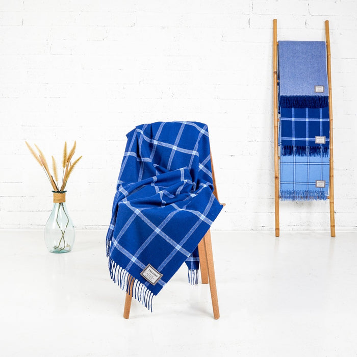 Navy & Blue Windowpane Throw