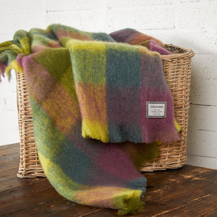 Studio Green & Citrus Multi-Block Mohair Throw