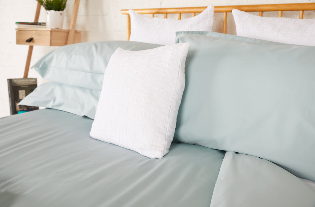 Aqua Percale Plain Dye Fitted Sheet