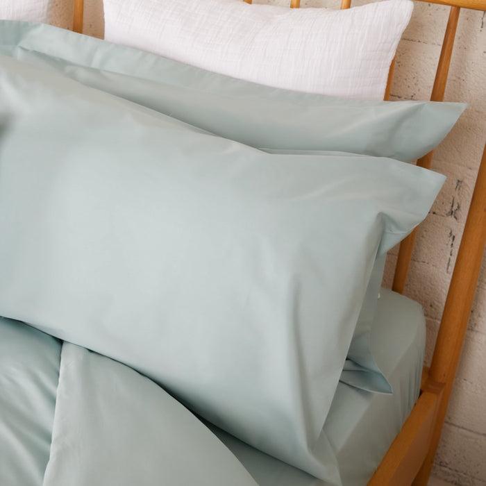 Aqua Percale Plain Dye Housewife Pillowcases - Pair