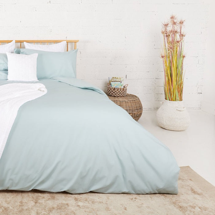 Aqua Percale Plain Dye Duvet Set