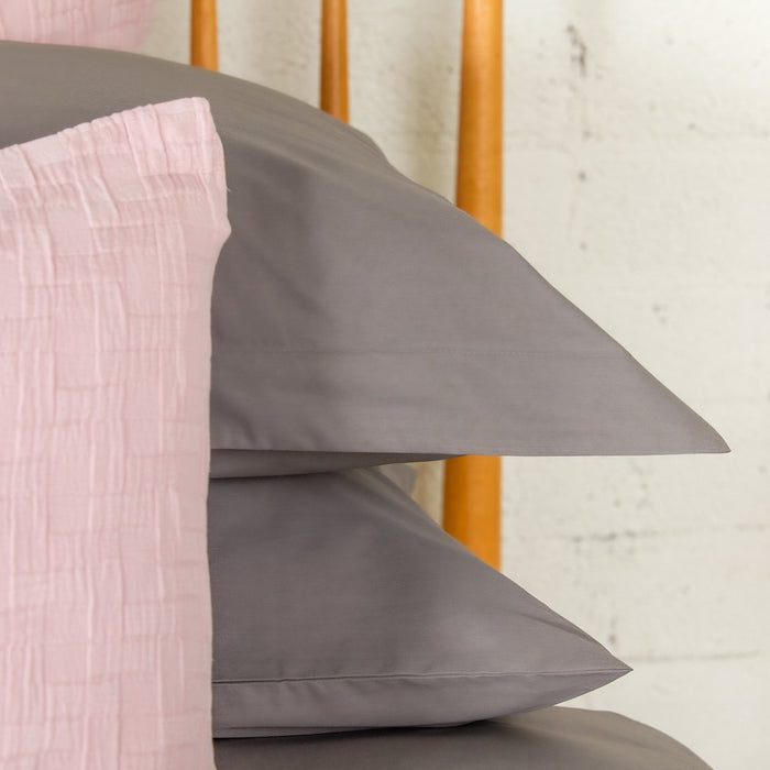 Dark Grey Percale Plain Dye Oxford Pillowcase