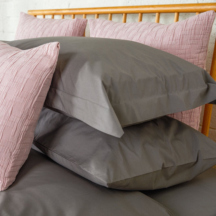 Dark Grey Percale Plain Dye Housewife Pillowcases - Pair