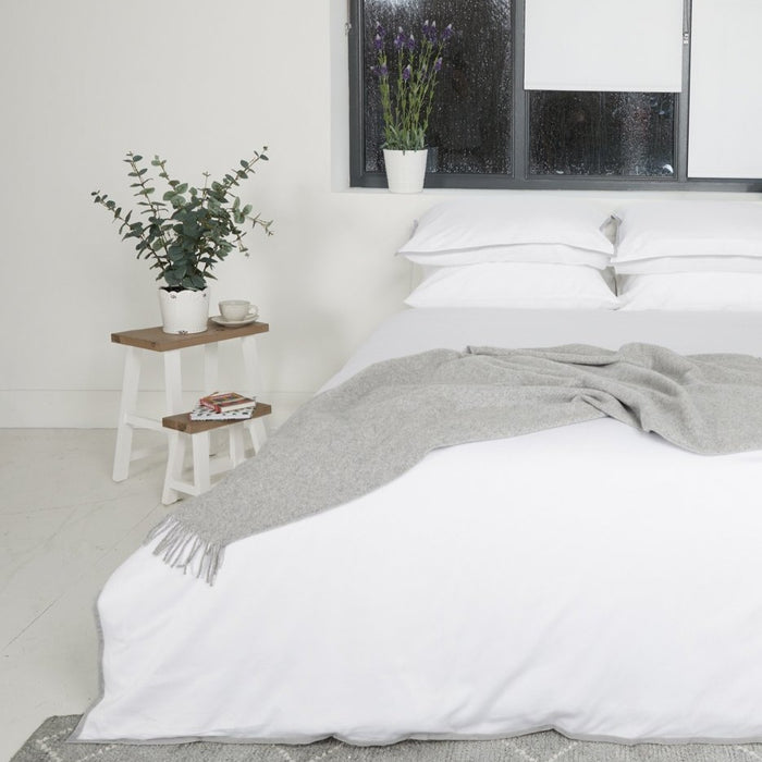 Sateen Border White/Grey Duvet Set