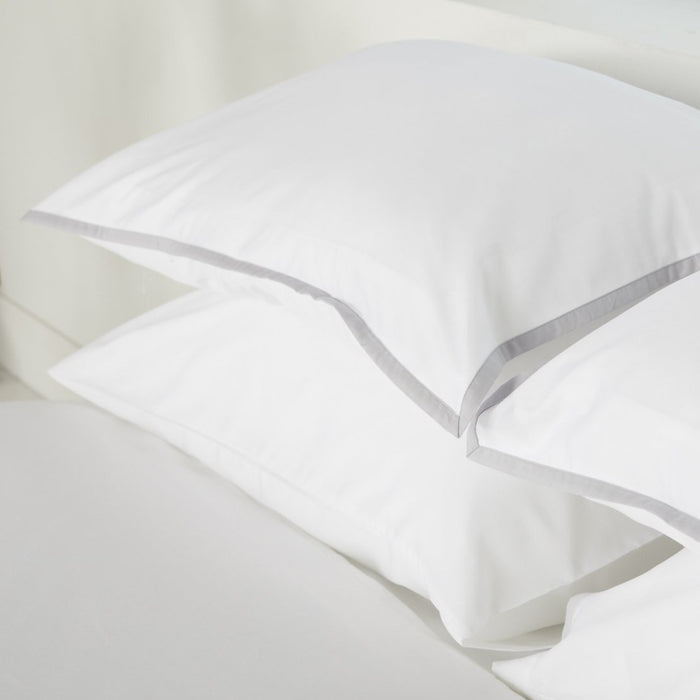 Sateen Border White/Grey Housewife Pillowcase