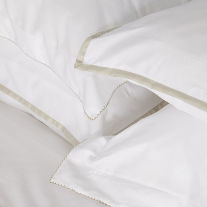Sateen White/Nacre Stitch Oxford Pillowcase